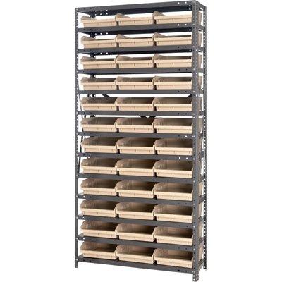 Quantum Storage 36 Bin Shelf Unit - 12in. x 36in. x 75in. Rack Size, Ivory by Quantum