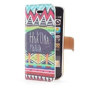 ZXM-Hakuna Matata Estilo Flip funda de cuero con el soporte y ranura para tarjeta para iPhone 5/5S