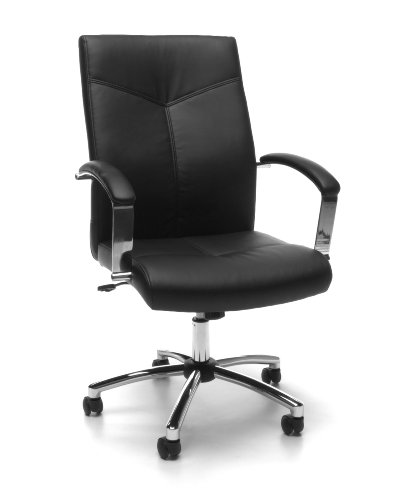 OFM Essentials High Back Leather Executive Chair - Ergonomic Conference Chair with Padded Arms, Black (E1003-BLK)