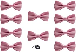 Udres Men Formal Tuxedo 10 Pack Solid Color Satin Bow Tie Classic Pre-Tied Bowtie (One Size, Pink)