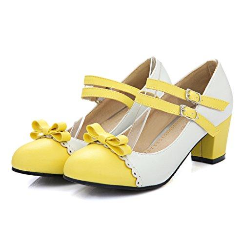 YE Damen Chunky Heels Pumps Knöchelriemchen Geschlossene High Heels Rockabilly mit Schleife und Blockabsatz 7cm Bequem Schuhe Gelb