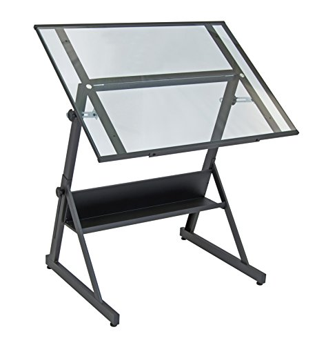 Studio Designs 13346 Solano Adjustable Height Drafting Table, Charcoal/Clear Glass by Studio Designs