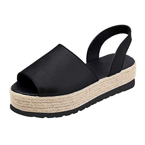 Tantisy ♣↭♣ Summer Women Flat Shoes/Peep Toe Play Form Woven Thick-Bottom Sandals/Roman Shoes/Flip Flops Black