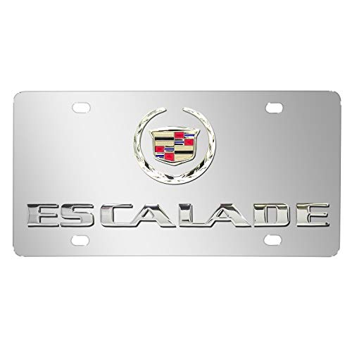 iPick Image Cadillac Escalade Mirror Chrome Stainless Steel License Plate