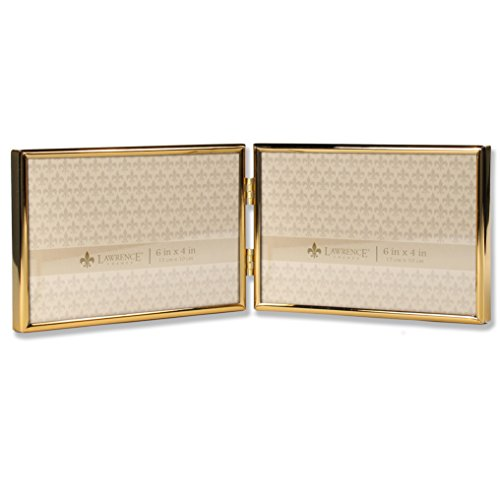 Lawrence Frames 6x4 Hinged Double Simply Gold Metal Picture - Frame Gold Double