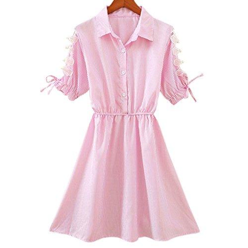 Turn Providethebest Mini Camiseta algodón Mujeres 2XL Cuello Mezcla de Camisa del de de Las de Down Manga Vestir de Muchachas Vestido cortaRosado rzrO51xw