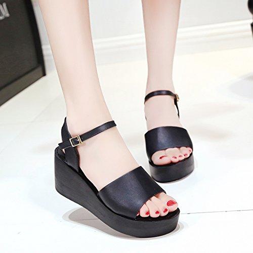 RUGAI-UE Simples sandalias Verano Mujer zapatos planos Black