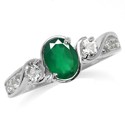 Agate Topaz Ring (Genuine Emerald Green Agate & White Topaz Gold Plated 925 Sterling Silver Engagement Ring Size 7)
