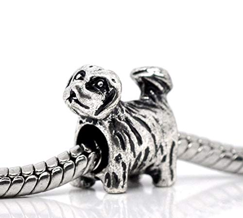 - Jewelry Making Supplies Yorkie Puppy Dog Yorkshire Terrier Lhasa Apso Charm for European Bead Bracelets Make Personalized Necklaces Bracelets and Other Jewelry