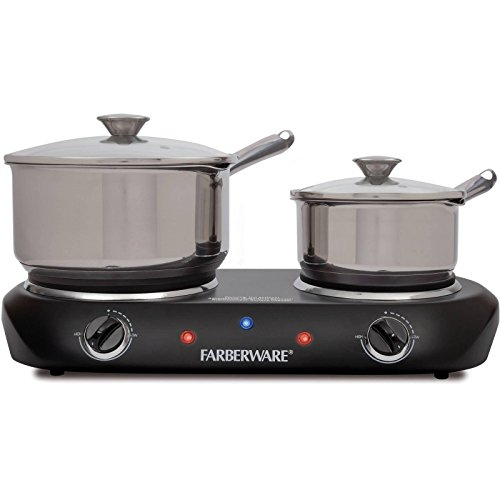 Electric Stove Top High Powered 2 Burners Cooktop Range Oven Hot Plate Black