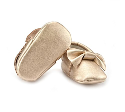 Vlunt Baby Mädchen Kleinkind Schuhe Bowknot Weich Sohle Babyschuhe Lauflernschuhe Gold