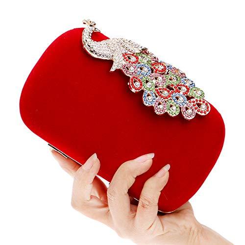 Cerimonia Cinese Donna Nuziale Pavone Rosso Pochette Sera Sposa Borsa Per Da Sounded Ballo Peng FPgqxpf