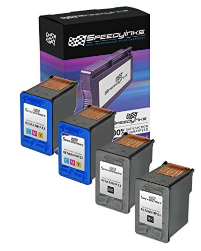 Speedy Inks Remanufactured Ink Cartridge Replacement for HP 21 and HP 22 (2 Black and 2 Color, - Cartridge Inkjet 21 Print