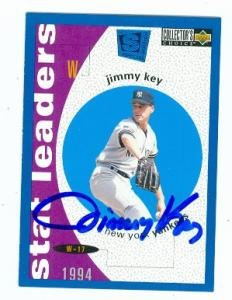 Card Edition Autographed Special (Autograph Warehouse 89966 Jimmy Key Autographed Baseball Card New York Yankees 1995 Upper Deck No. 141 Special Edition)