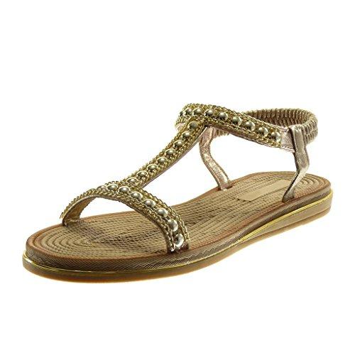 Angkorly Zapatillas Moda Sandalias Slip-On Correa Correa de Tobillo Mujer Perla Cadena Dorado Plataforma 2 cm Oro