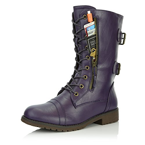Leather Buckle Boot - DailyShoes Women's Military Lace Up Buckle Combat Boots Mid Knee High Exclusive Credit Card Pocket, Sweet Purple, 7.5 B(M)