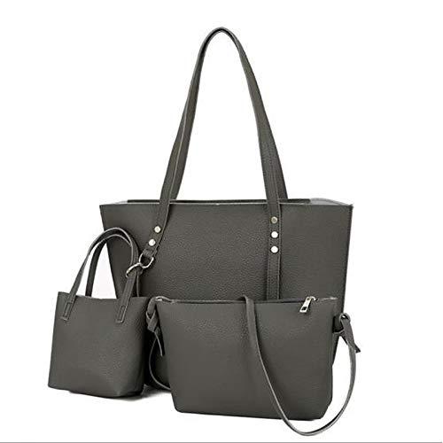 Fourre Dark De Set Bag Light Gris Grande Sacs Tout Main à main 3 Women's Purse Grey foncé Bags Rivet À PU QZTG Capacité Brown sac Set Pcs Gray x0gwAqa01