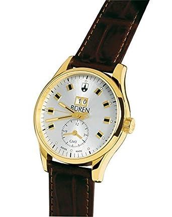 Schweizer Herrenuhr - BÜREN Grande Date GMT - vergoldet