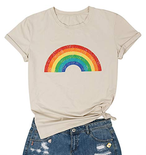 MOUSYA Rainbow Stripe T-Shirt for Women and Girls, Short Sleeve O-Neck Graphic Casual Tee for Ladies, Gray ()
