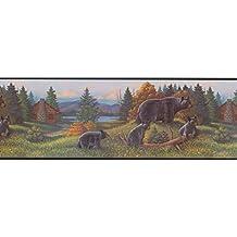 WL5627B Black Bear Lodge Wallpaper Border
