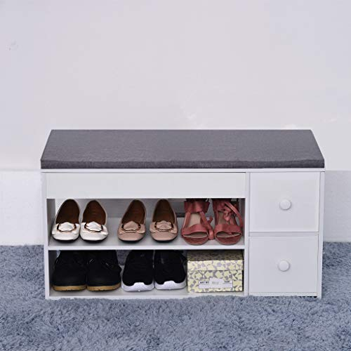 Drawer Leather 2 Bench - Solovley Storage Stool, 2-Tier Shoes Bench Entryway Storage Shoe Rack with Two Drawers Change Shoe Bench Faux Leather Ottoman
