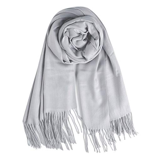 QBSM Women Silver Grey Winter Pashmina Scarf, Silver Formal Wedding Bridal Evening Dresses Shawls and Wraps