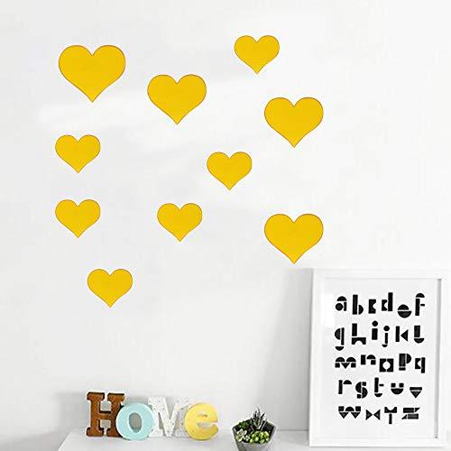 Hot Sale!Christmas Gift,Sunfei 10PCS Mural Decal 3D Mirror Wall Sticker Love Heart Removable Sticker Livingroom Decorative,TV Background Decor Home Decoration (Gold)
