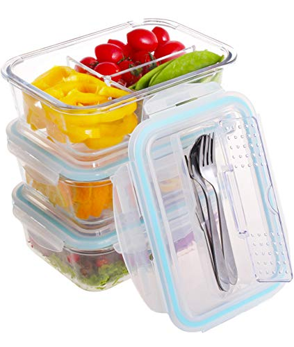 3 Compartment Glass Food Storage Containers with Locking Lids and Stainless Steel Utensils for Home, Kitchen, Working, School or Outdoor Picnic - BPA Free - Oven/Microwave/Freezer/Dishwasher Safe