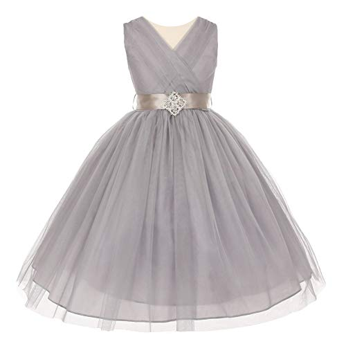 Cinderella Couture Big Girls Silver Pleated Rhinestone Brooch Tulle Junior Bridesmaid Dress - Wedding Allure Couture Dresses