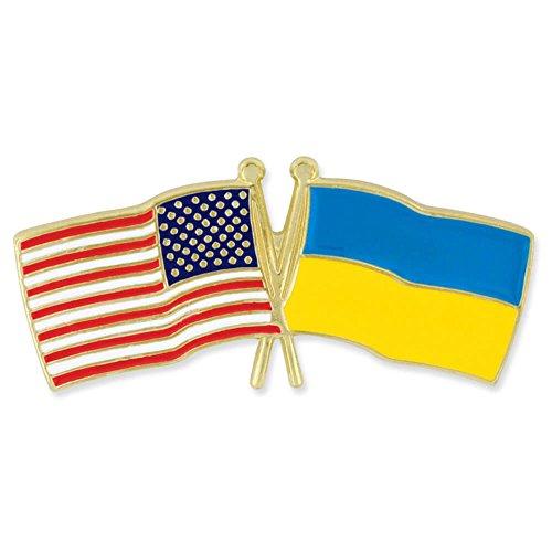 (PinMart USA and Ukraine Crossed Friendship Flag Enamel Lapel Pin)