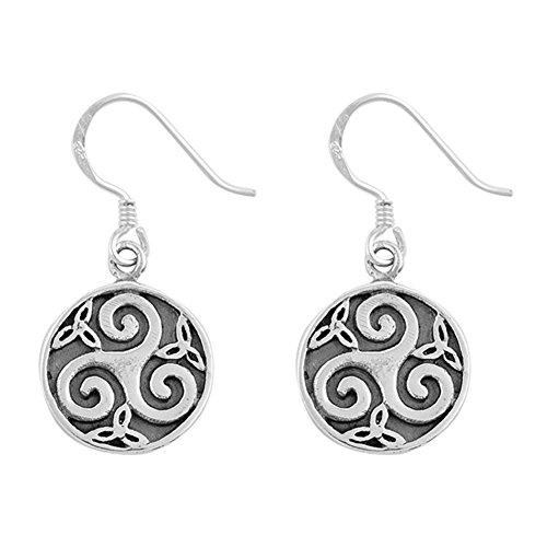 (Trinity Wave Celtic Triquetra Swirl Triple Spiral .925 Sterling Silver Earrings)