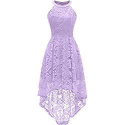 Dressystar 0028 Halter Floral Lace Cocktail Party Dress Hi-Lo Bridesmaid Dress S Lavender