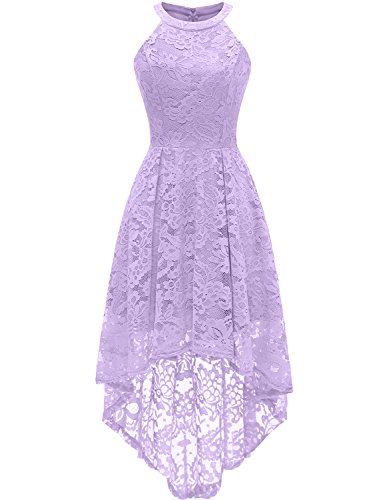 Dressystar 0028 Halter Floral Lace Cocktail Party Dress Hi-Lo Bridesmaid Dress L Lavender