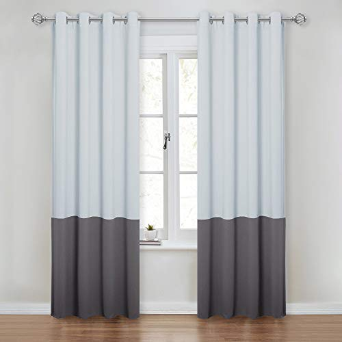 NICETOWN Color Block Window Curtains - Thermal Insulated Grommet Blackout Window Treatment Draperies for Guest Room/Laundry Room (2 Panels, 52