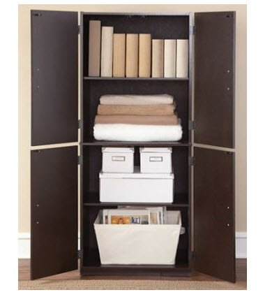 Storage Cabinet - Cinnamon Cherry - Spacious, Ample Storage for Kitchen Accessories and Pantry Items Behind Four Doors - Ergonomic Door Handles for Easy-Grip Access - Easy Assembly