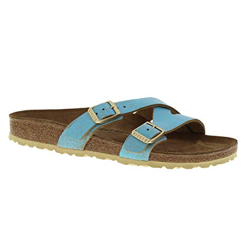 (Birkenstock Women's Yao Sandal Washed Metallic Aqua Leather Size 36 N EU)