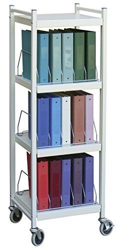 Mini Open Chart Rack 4 Shelves 15 Binder Capacity (Light Gray) by Omnimed