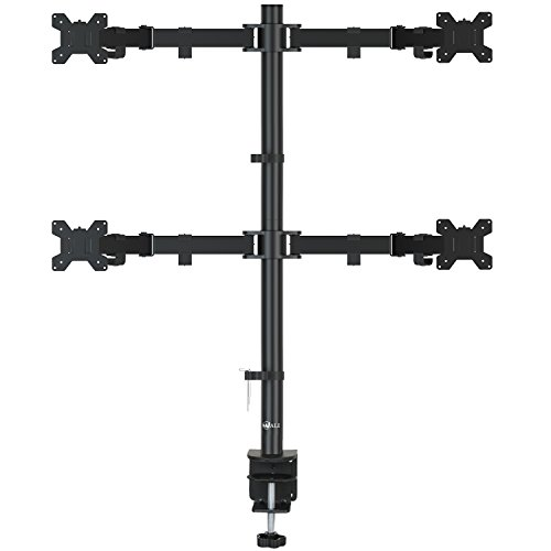"- WALI Quad LCD Monitor Desk Mount Fully Adjustable Stand Fits Four Screens up to 27"", 22 lbs. Weight Capacity per Arm (M004), Black"
