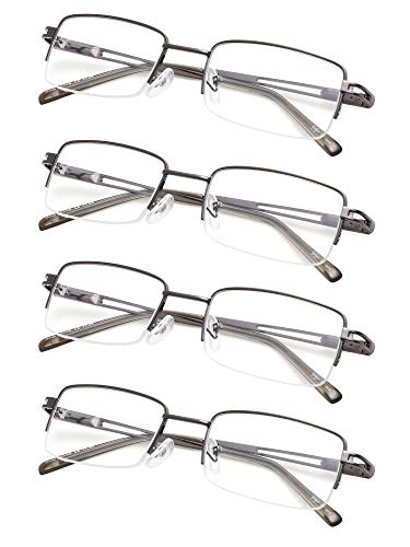 4-pack Half-rim Reading Glasses for Men and Women with Spring Hinges Metal Readers +2.0 Gunmetal