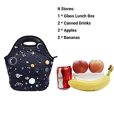 Neoprene Lunch Bag Insulated Lunch Box Tote for Kids Teens Boys Teenage Girls Toddlers Women Men Adult (Space): Kitchen & Dining
