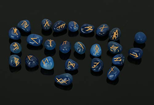Natural Crystal Blue Agate Rune Stones Set with Engraved Elder Futhark Alphabet Crystal Meditation Divination Healing