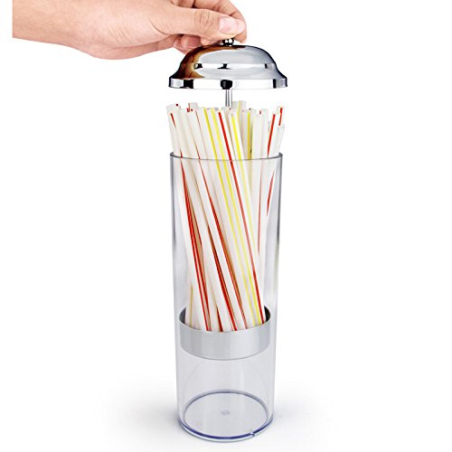 Mannily Plastic Straw Dispenser Creative Transparent Straw Dispenser Holder Straw Organizer Contaienr With Stainless Steel Lid by Mannily