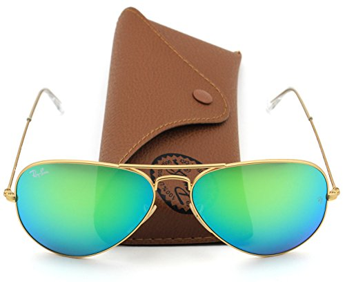 Ray-Ban RB3025 112/19 Aviator Matte Gold Frame / Green Flesh Lens - Ray Lenses Flash Green Ban