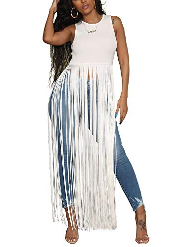 Women Sexy Sleeveless Tunic Tops for Leggings Summer Round Neck Tassels Ruffle Hem Peplum Blouse Crop Tank Tops Flowy Pullover T Shirt Dress Party Club Outfits White, Small