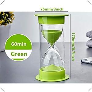 Toirxarn Reloj de arena, doble protección, asistente de gestión del tiempo, regalo creativo, decoración de la oficina de la sala de estar - 60 minutos Verde 2