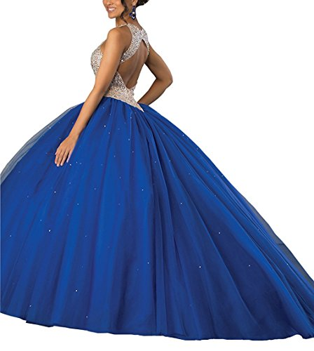 Jewel Gown Quinceanera Crystals Dearta Hollow Nude Dresses Train Royal Ball Women's Sweep tEqnwg6