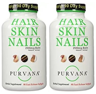 Purvana Hair Nail and Skin 90 Count new convenient size (2 Pack)