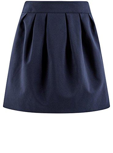 oodji Ultra Mujer Falda Acampanada con Pliegues Suaves Azul (7900N)