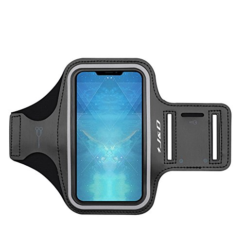 J&D Armband Compatible for iPhone SE Armband, Sports Armband with Key Holder Slot for Apple iPhone SE Running Armband, Perfect Earphone Connection While Workout Running - Black