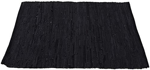 Bestlivings Teppich Läufer Matte Unterlage Vorleger Fußabtreter, breite Auswahl an modernen Fleckerl- und Baumwollteppichen (90x150cm   Leder schwarz)